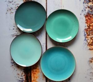 Azuur blauw groene dinerborden