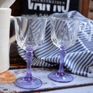 Vintage wijnglazen lila